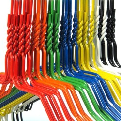 """Strong Coloured Wire Coat Hangers (13G) 16""""/40cm Multi-colored Metal Clothes extra strong"""