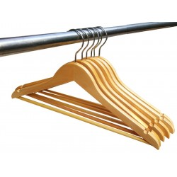 "Hanger with Wooden Ribbed Bar (16"")"